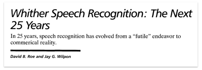 Image result for whither speech recognition 25 years later